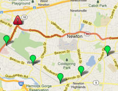 MAP: Newton Road Closures and MBTA Changes for 2013 Boston Marathon